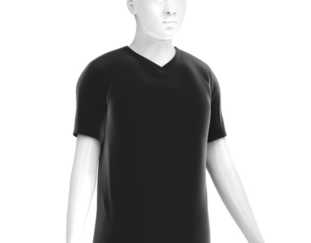 V neck T-shirt, man fashion dummy wearing blank black cloth template isolated on white background, 3d render
