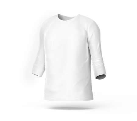 Three quarter sleeves, blank white cloth template for men with invisible model isolated on white background, 3d render Stock Photo