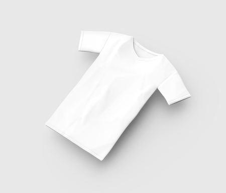 V neck T shirt mockup, blank white unisex cloth template isolated on light gray background, 3d render elevated view