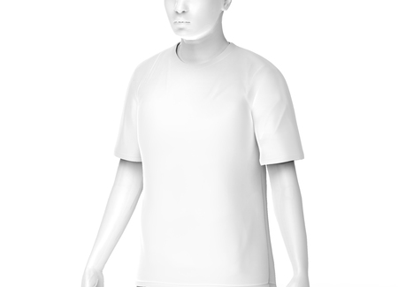 Crew neck T-shirt, man fashion dummy wearing blank white cloth template isolated on white background, 3d render