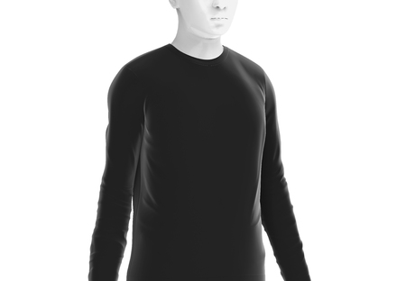Long sleeves shirt, man fashion dummy wearing blank black cloth template isolated on white background, 3d render
