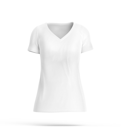 V neck T-shirt, blank white cloth for women with invisible model isolated on white background, 3d render