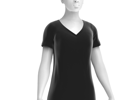 V neck black T shirt, women fashion dummy wearing blank black cloth template on white background, 3d render Stock fotó