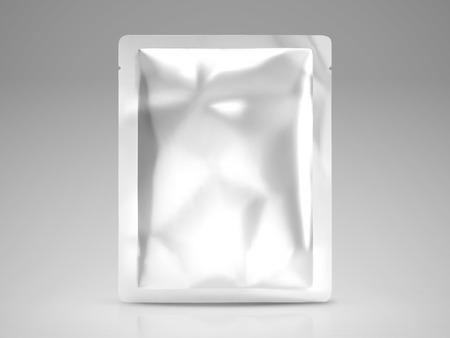 Paquete de máscara facial o máscara de ojos, plantilla de paquete de lámina en blanco en la ilustración 3d, paquete alto aislado sobre fondo gris Foto de archivo - 93444343