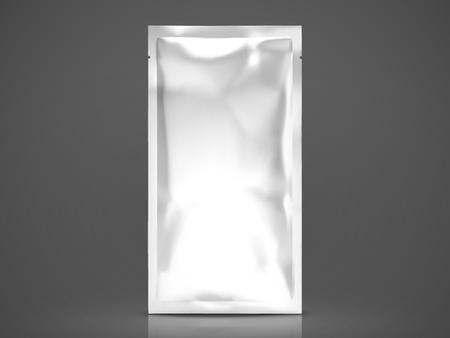 フェイシャルマスクやアイマスクパッケージ、3Dイラストでブランク箔パッケージテンプレート、暗い背景に隔離された背の高いパック