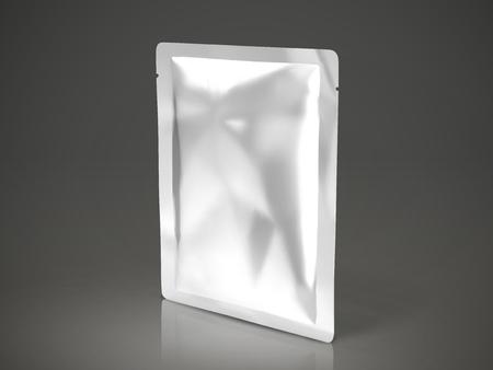 페이셜 마스크 또는 아이 마스크 패키지, 3d 그림에서 빈 호 일 패키지 템플릿, 어두운 팩 격리 된 키 팩