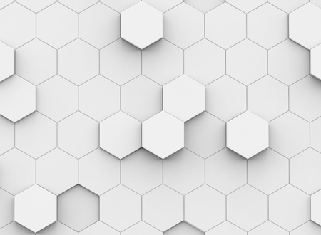 white hexagon background, 3d rendering polygonal backdrop with glossy surface Banco de Imagens - 93486081