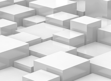 white cube background, 3d rendering geometric backdrop with glossy surface