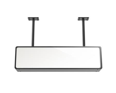 Hanging lightbox template, blank 3d render sign board with black frame