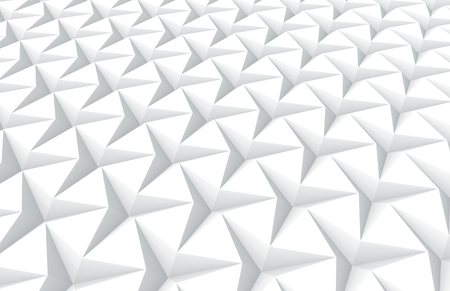 White three pointed star background, 3d render abstract pattern elevated view