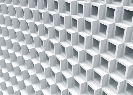 White hollow cube background, 3d render square frame pattern