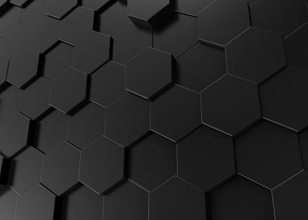 Black hexagon background, 3d render geometric pattern wallpaper Фото со стока