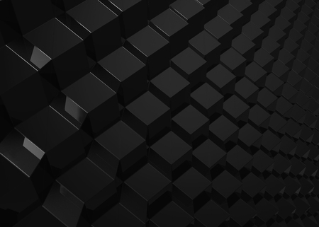 Black geometric background, cubes pattern in 3d render Stock Photo