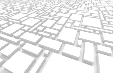 White urban background, squares and cubes shape pattern in 3d render Standard-Bild - 93486123