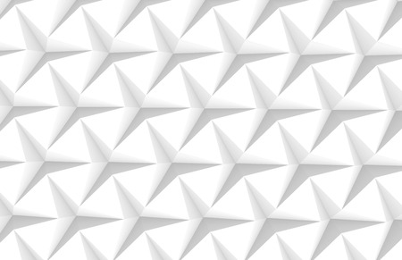 White three pointed star background, 3d render abstract pattern top view Stock fotó