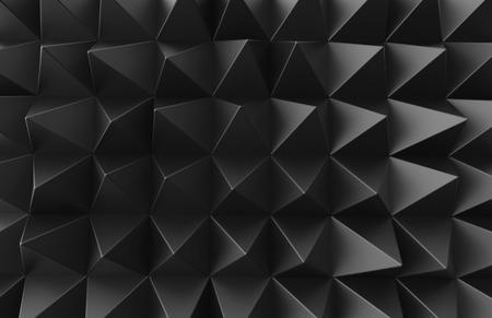 Black triangular pyramid background, top view of dark geometric pattern in 3d render