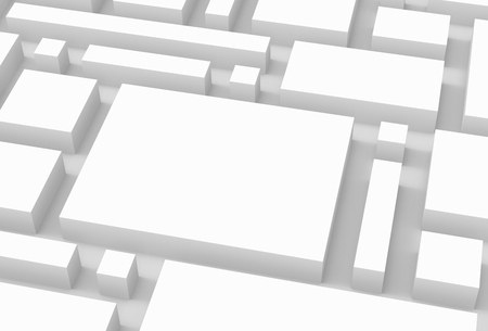 White urban background, squares and cubes shape pattern in 3d render, close up