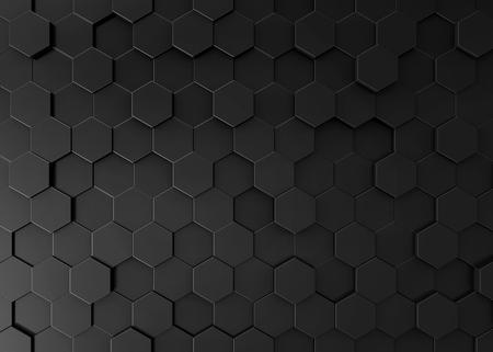 Czarny sześciokąta tło, 3d odpłaca się geometryczną deseniową tapetę