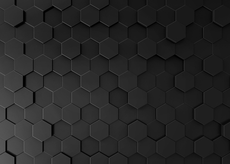 Black hexagon background, 3d render geometric pattern wallpaper Archivio Fotografico