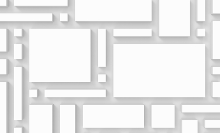 White urban background, squares and cubes shape pattern in 3d render, top view and close up look Stock fotó