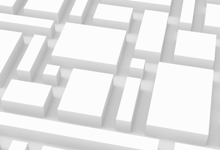 White urban background, squares and cubes shape pattern in 3d render, close up Standard-Bild - 93486140