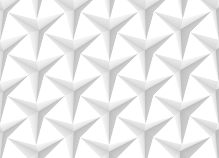 White three pointed star background, 3d render abstract pattern top view Banco de Imagens