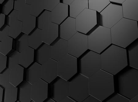 Black hexagon background, 3d render geometric pattern wallpaper Reklamní fotografie