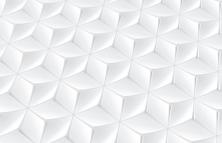 Elegant white geometric background, polygonal matte texture pattern in 3d render, elevated view