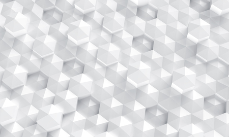 White polygonal background, crystal point geometric backdrop in 3d render
