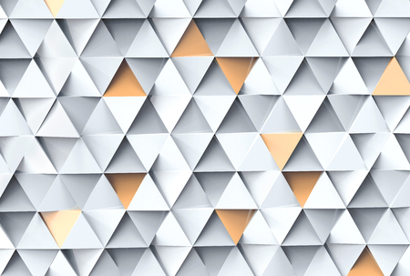 Geometric triangle background, 3d render white and golden color triangle shapes