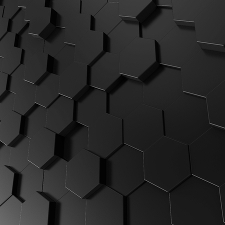 Black hexagon background, 3d render geometric pattern wallpaper Banco de Imagens