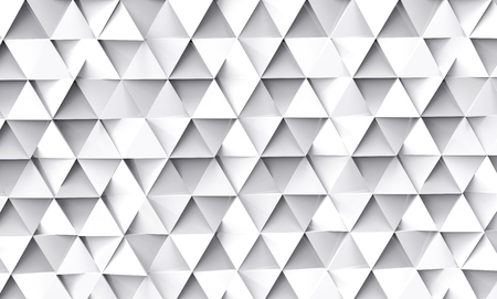 Geometric triangle background, 3d render white triangle shapes wallpaper