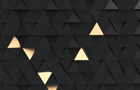 Geometric triangle background, 3d render black and golden color triangle shapes