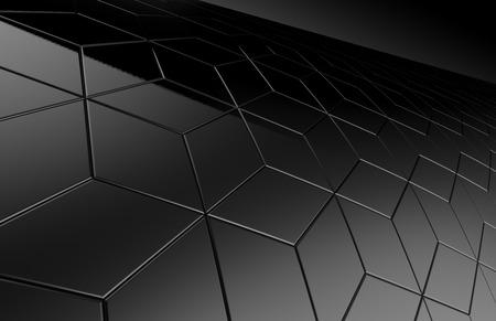 Geometric black background, 3d render dark hexagon or polygonal shape backdrop Banco de Imagens