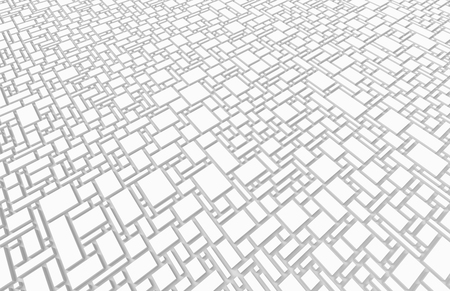 White urban background, squares and cubes shape pattern in 3d render