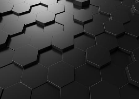 Black hexagon background, 3d render geometric pattern wallpaper Stock Photo