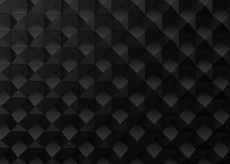 黒の幾何学的背景、3Dレンダリングの立方体パターン