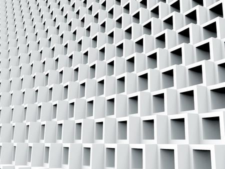 白い中空立キューブの背景、3D レンダリング正方形のフレーム パターン 写真素材