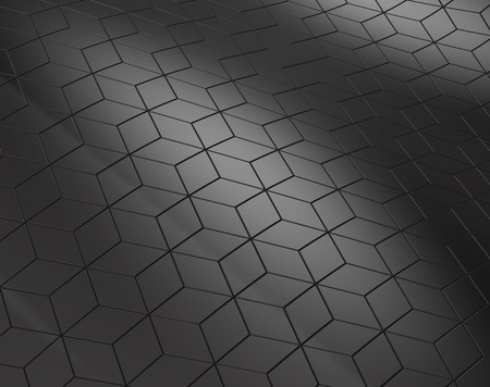 Geometric black background, 3d render dark hexagon or polygonal shape backdrop Stock Photo