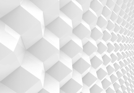 White geometric background, cubes pattern in 3d render