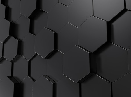 Fond d'hexagone noir, papier peint motif de rendu 3d Banque d'images - 93486290