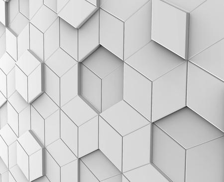 Fond blanc géométrique, hexagone de rendu 3d ou fond de forme polygonale Banque d'images - 93486298