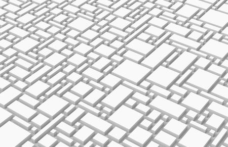 Weißer städtischer Hintergrund, Quadrate und Würfel formen Muster in 3d übertragen Standard-Bild - 93481409
