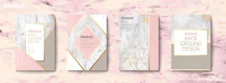 Graceful brochure set, geometric shape with golden line and marble stone texture, pink tone Vettoriali