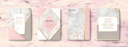 Sierlijke brochure set, geometrische vorm met gouden lijn en marmeren steentextuur, roze toon Stock Illustratie