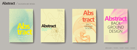 Futuristic style brochure set, thin line elements on yellow beige background