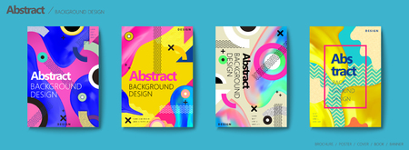 Brochura de estilo Memphis e hipster, elementos geométricos coloridos e formas fluidas desenha o conjunto de panfleto