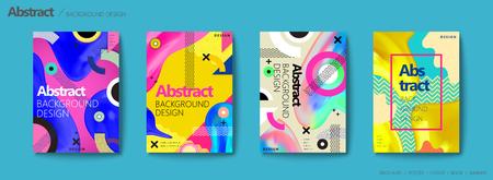 Broszura w stylu memphis i hipster, kolorowe elementy geometryczne i płynne kształty projektują zestaw ulotek