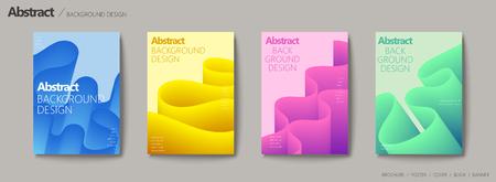 Fluid liquid style brochure, wavy and gradient color design set Reklamní fotografie - 93623066