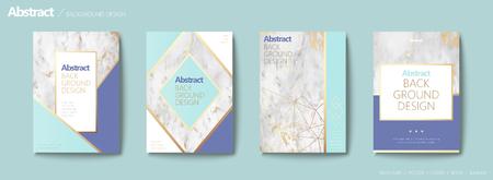 Graceful brochure set, geometric shape with golden line and marble stone texture, aqua blue tone